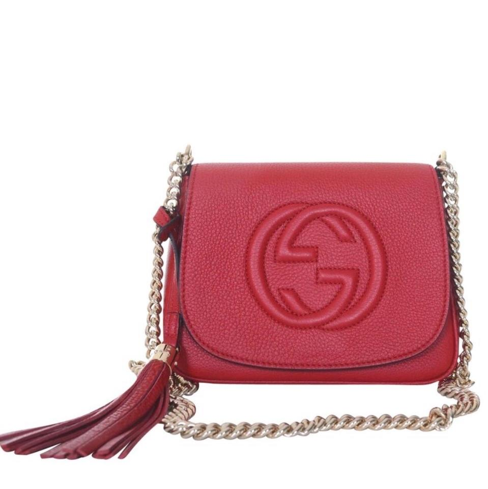 c32233ad Gucci Soho Disco W Gold Chain Red Leather Cross Body Bag 19% off retail