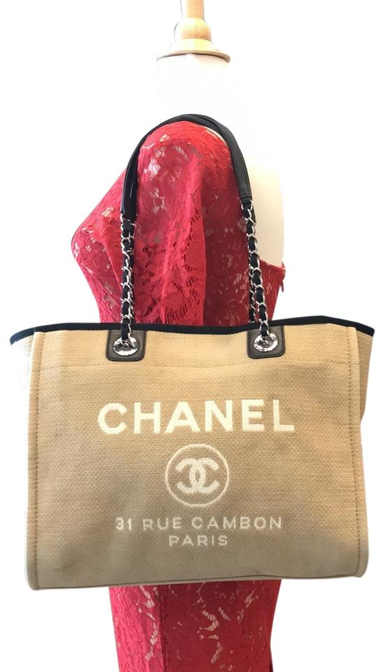 b3c292782a70 Chanel Deauville Tan and Black Denim 7062 Brown Canvas Tote - Tradesy