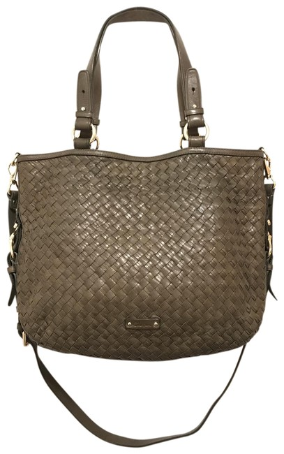 Item - Lg Woven Distressed Convertible Gray Green Khaki Leather Satchel