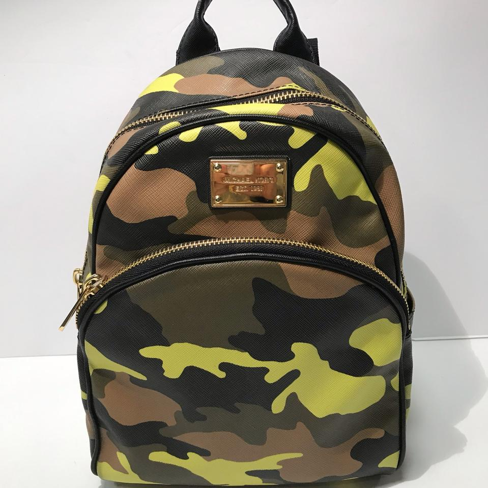 9ddb608f63cfcc Michael Kors Small Jet Set Camo Lemon Acid Leather Backpack - Tradesy