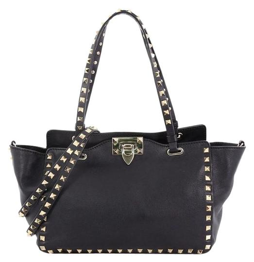 Rockstud Soft Small Black Leather Tote by Valentino