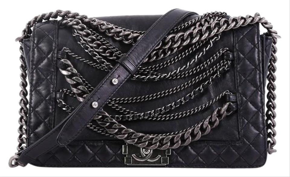 9febbe385998 Chanel Classic Flap Boy Enchained New Medium Black Lambskin Leather  Shoulder Bag