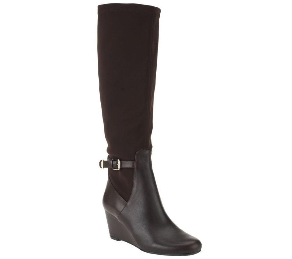 39149b52338 Isaac Mizrahi Live! Leather and Stretch Fabric Wedge Boots Booties ...