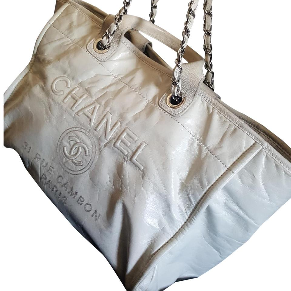 6c0152ae0754 Chanel Deauville Large Cream/Ivory All Leather Tote - Tradesy