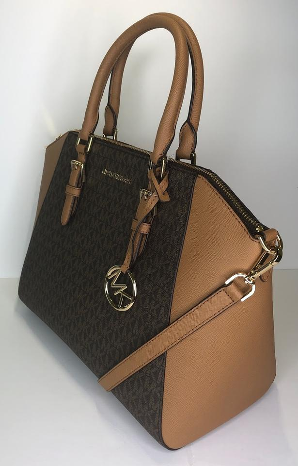 089519a6a2 Michael Kors Ciara Large Tz Set Bifold Wallet Satchel in Signature MK Brown  Acorn Image. 1234567