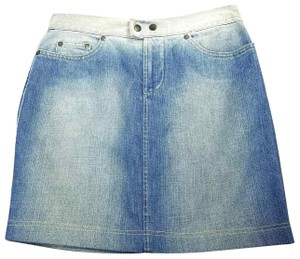 Gianfranco Ferre Made In Italy Denim Pencil Mini Jean Mini Skirt Blue
