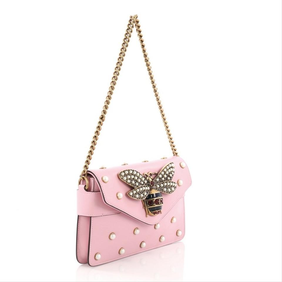 1460de24451 Gucci Broadway Pearly Embellished Mini Pink Leather Shoulder Bag ...