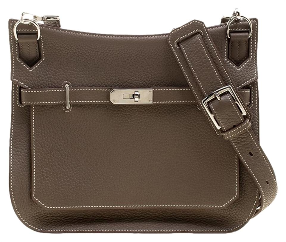 c9c2499829 Hermès Jypsiere Etain Taurillon Clemence 28 Brown Leather Shoulder ...