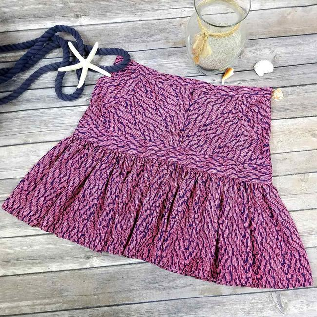 See by Chloé Made In Italy Silk Summer Mini Skirt Purple & Navy Image 6