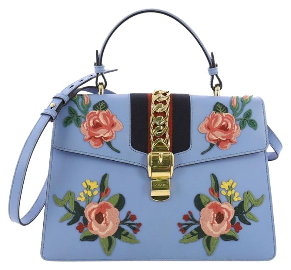 5d66587c0597 Gucci Sylvie Top Handle Bag Embroidered Medium Blue Leather Satchel ...