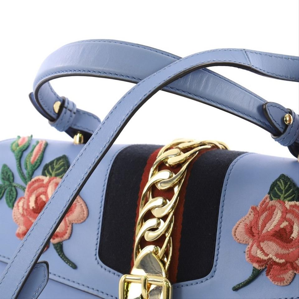8a8a7d5693f Gucci Sylvie Top Handle Embroidered Medium Blue Leather Satchel ...
