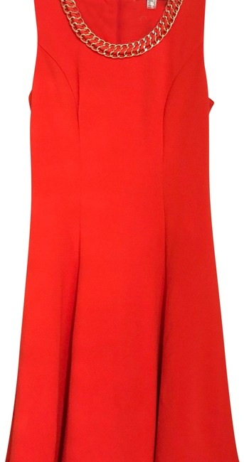 Item - Red / Orange Belle Fit & Flare Jeweled Neck Mid-length Night Out Dress Size 4 (S)
