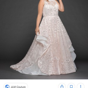 Hayley Paige Blush/Pink/Orchid (Designer Color Name) Blush/Pink Reagan 6755 Floral Sparkly Ball Gown Modern Wedding Dress Size 16 (XL, Plus 0x)