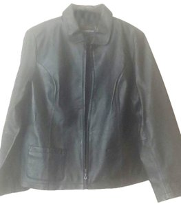 Petite Sophisticate black Leather Jacket