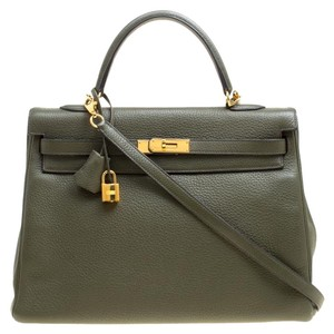 Hermès Leather Gold Hardware Tote in Green
