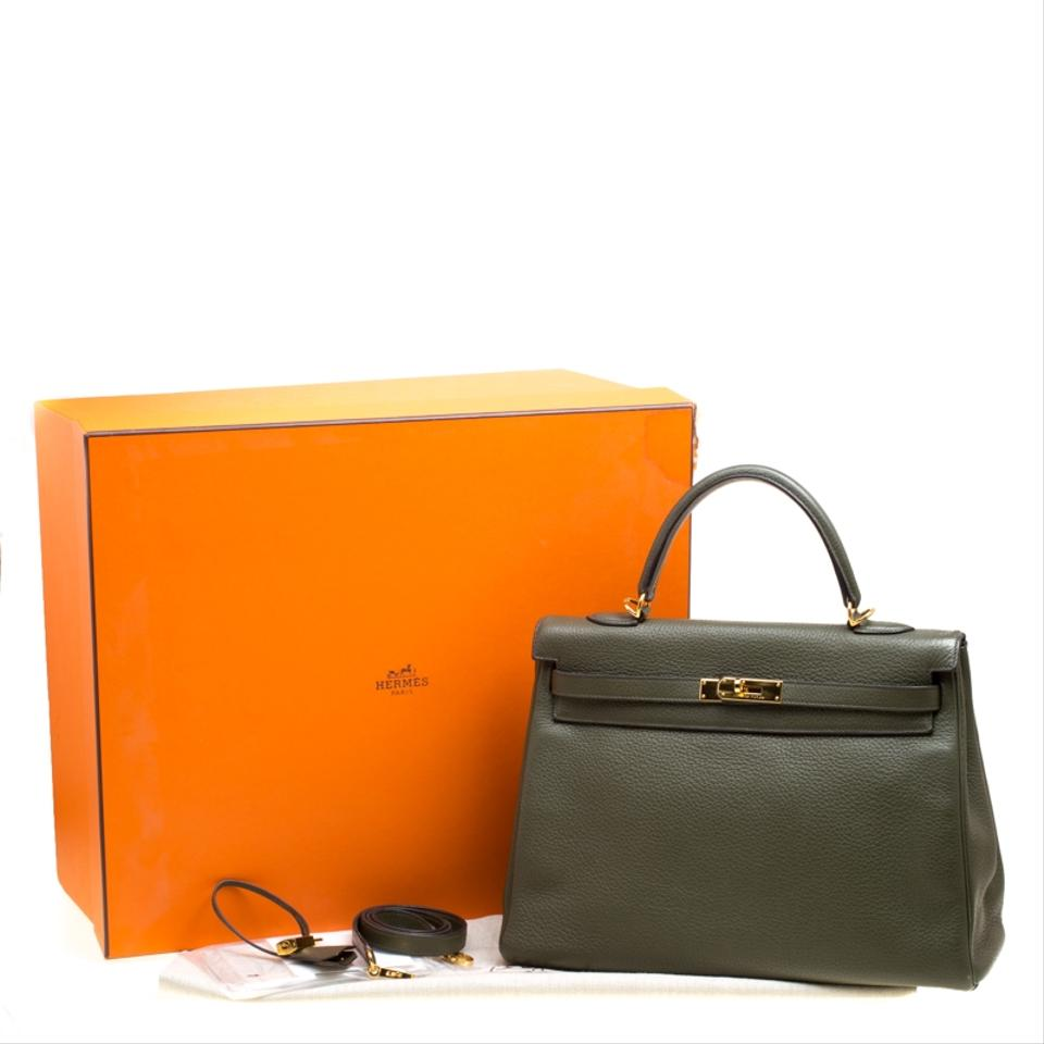 6a24c95f9c48b Hermès Kelly Togo Gold Hardware Retourne 35 Green Leather Tote - Tradesy