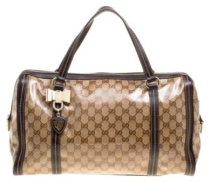Gucci Canvas Leather Crystal Satchel in Beige