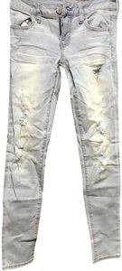 American Eagle Outfitters Wash Distressed Sexy Eye-catching Fun Skinny Jeans-Light Wash
