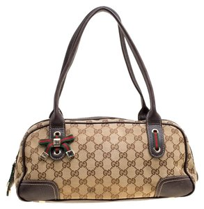 Gucci Canvas Leather Satchel in Beige