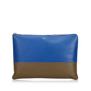 Céline Celine Blue Leather Bicolor Leather Pouch France Small