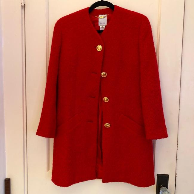 Item - Red Boucle Wool Coat Size 4 (S)