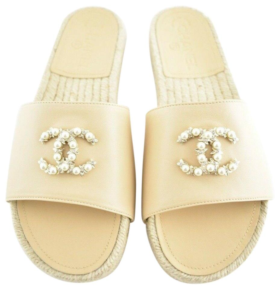 5923acd45e77 Chanel Beige 18a Leather Cc Logo Pearl Jewel Espadrille Slide Mule ...