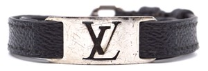 Louis Vuitton silver LV logo cutout hardware bracelet double tour rare