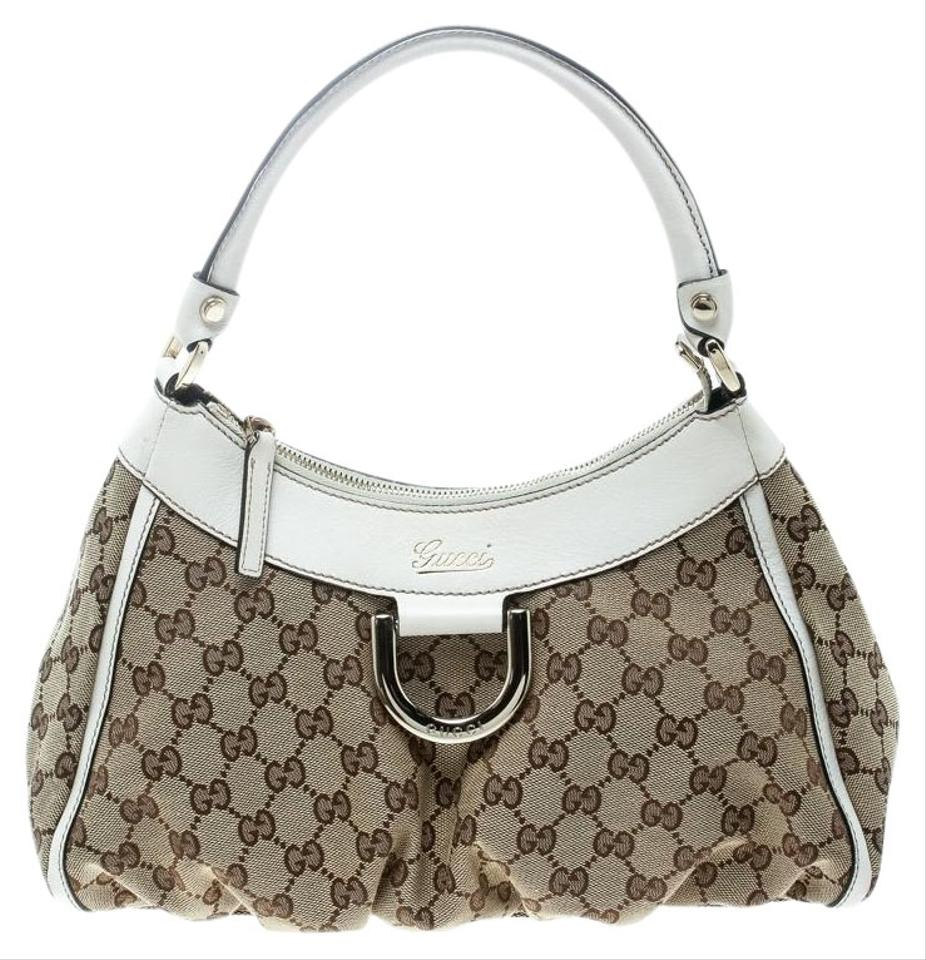 b8e5c2f66c6a Gucci Beige/White Gg Small D Ring Beige Canvas Hobo Bag - Tradesy