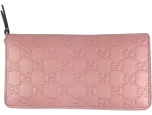 Gucci Gucci #410102 GG Signature Baby Pink Leather Zip Around Wallet