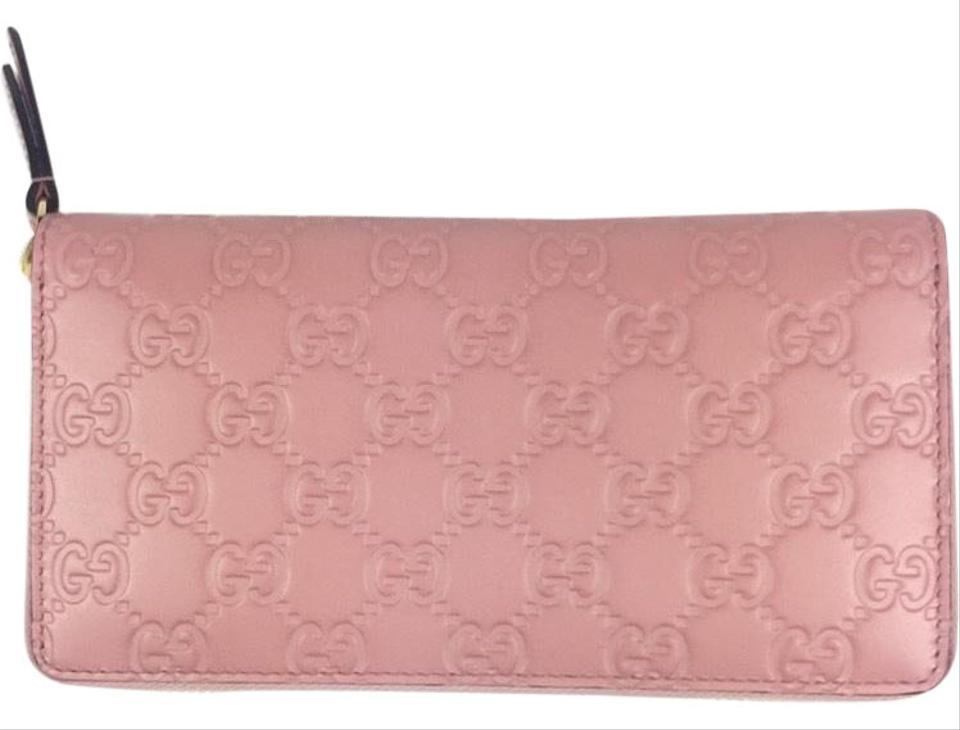 17328b8d0335 Gucci Gucci #410102 GG Signature Baby Pink Leather Zip Around Wallet Image  0 ...