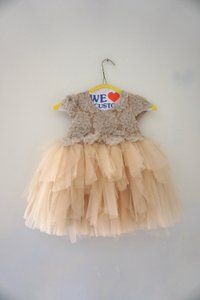 Beige Gold Lace & Tulle Luxury Couture Girls Party Embroidered Modern Bridesmaid/Mob Dress Size 4 (S)