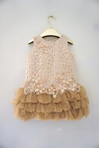 Beige Gold Lace & Tulle Luxury Couture Girls Party Embroidered 5 Modern Bridesmaid/Mob Dress Size 6 (S)