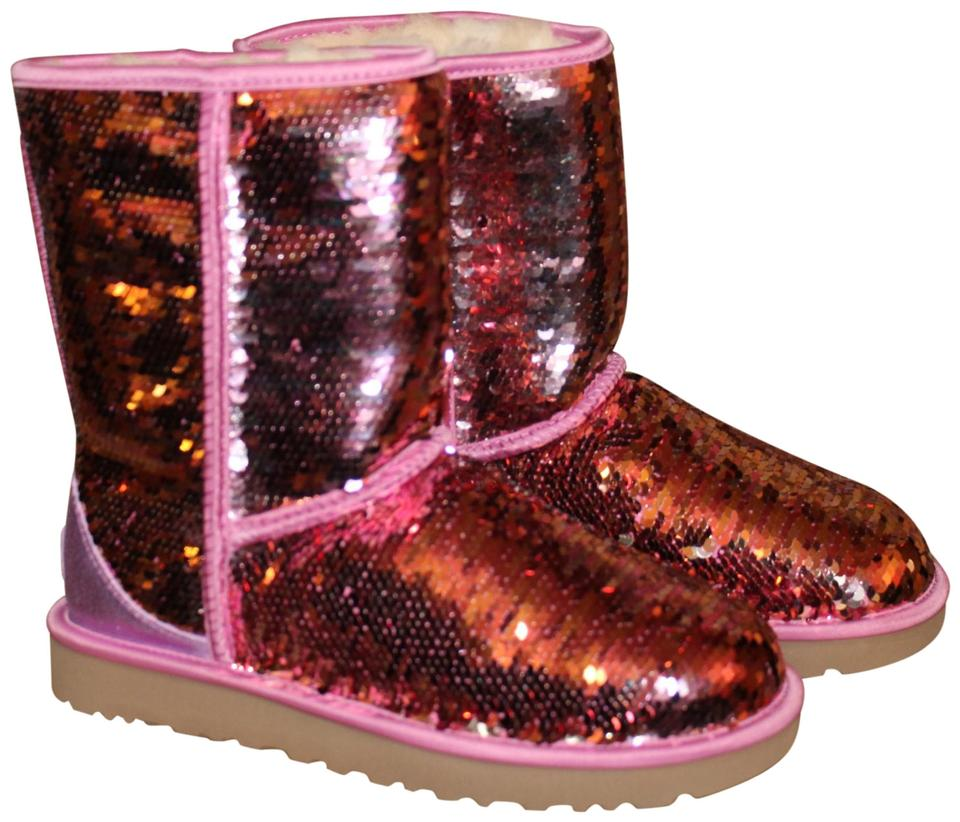 cbe780f2ee60 UGG Australia Pink Sparkles Sequin Classic Boots Booties Size US 10 ...