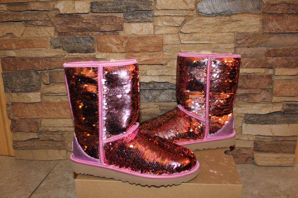 1f84d0f32127 UGG Australia Pink Sparkles Sequin Classic Boots Booties Size US 10 Regular  (M