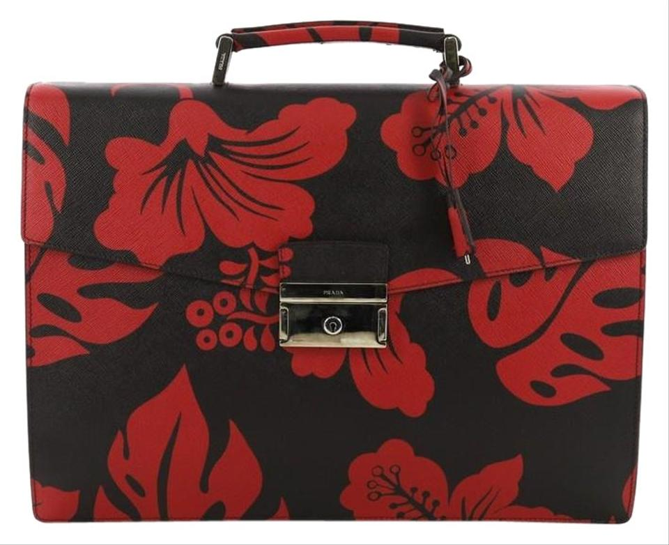 9d191bbf88c6 Prada Key Lock Briefcase Printed Saffiano Large Black and Red Leather  Satchel