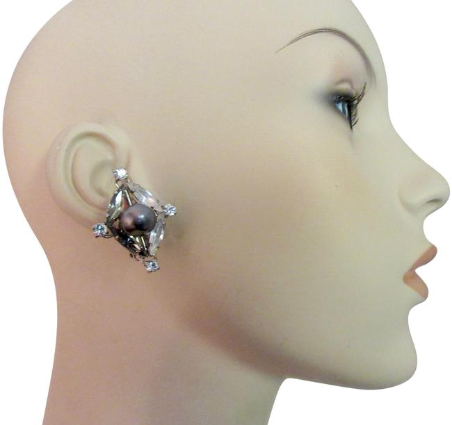 Item - Gray and White Daniel Pearl Crystal Clip Vintage Earrings