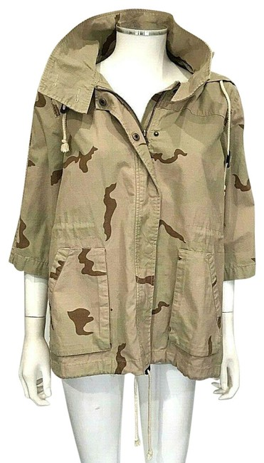 Item - Camo Green Tan Brown Lightweight Coat Camouflage Jacket Size 8 (M)