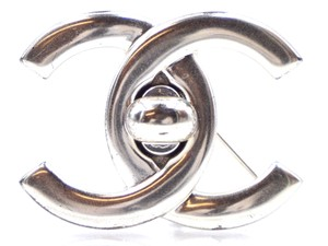 Chanel Rare CC silver interlock hardware brooch pin charm