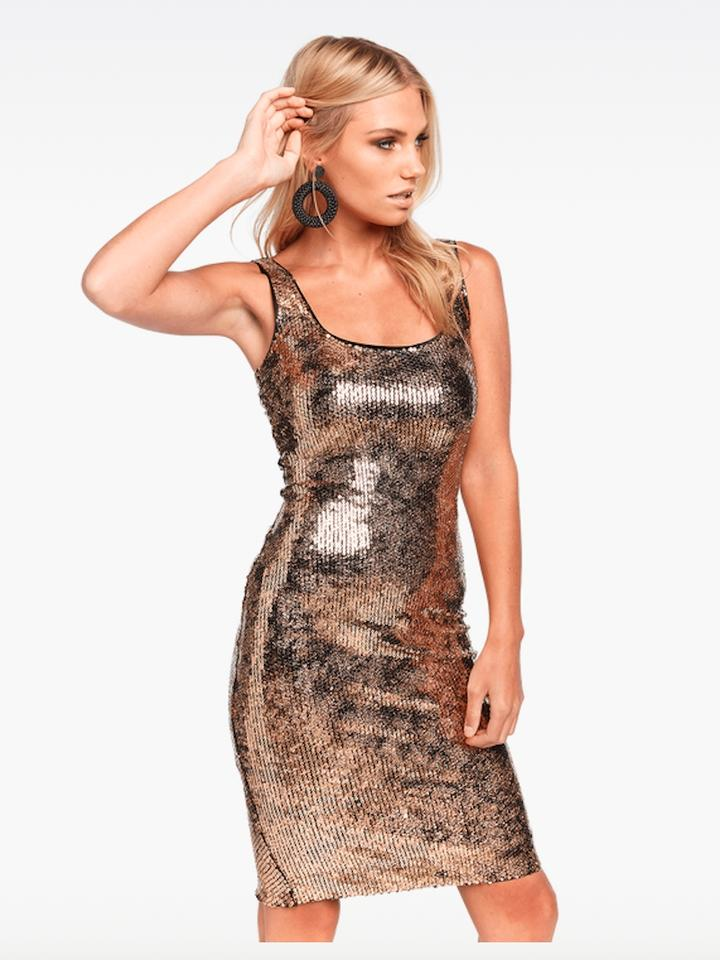 c051b3f594 Bardot Gold New with Tag Sequin Neve Mid-length Cocktail Dress Size ...