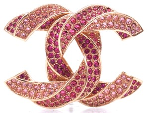 Chanel Rare CC crystals Twist textured Hardware Brooch Pin