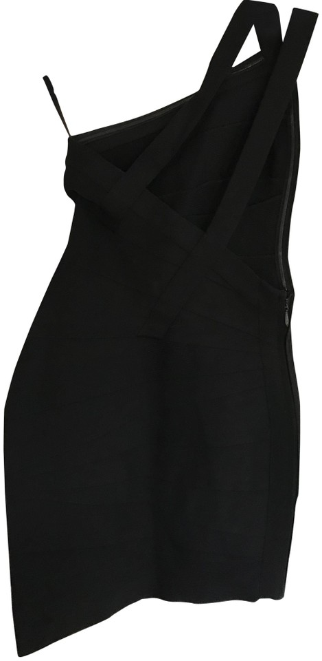 4ba07326235ef Hervé Leger Black Bandage Bodycon Short Cocktail Dress Size 4 (S ...