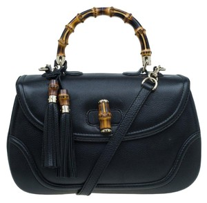 Gucci Leather Bamboo Tassels Satchel in Black
