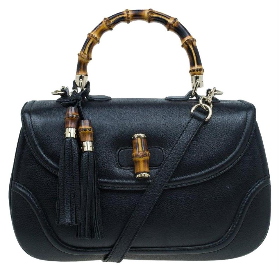 1e5ff5e6c577 Gucci Top Handle Bag Large New Bamboo Tassel Black Leather and Canvas  Satchel