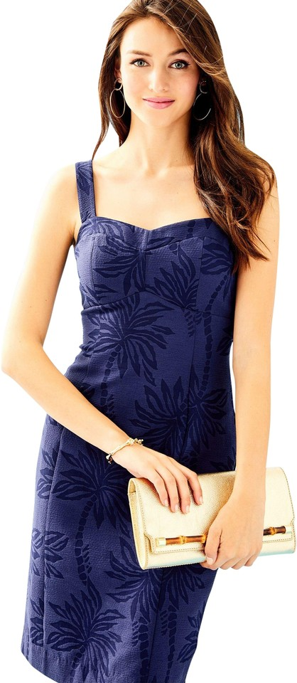 d46da52ad2a6 Lilly Pulitzer Navy Annalee Stretch Mid-length Cocktail Dress Size ...