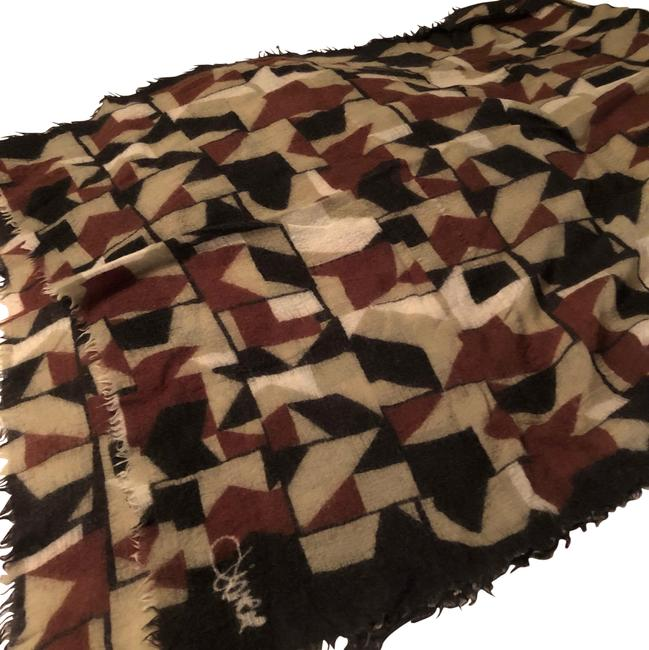Item - Black Olive Green Cream Brown Wool Raw Edges Scarf/Wrap
