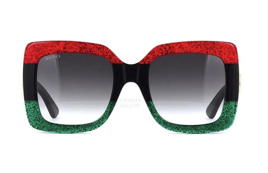 Preload https://img-static.tradesy.com/item/24864065/gucci-red-green-glitter-large-square-style-gg0083s-ships-immediately-sunglasses-0-0-540-540.jpg