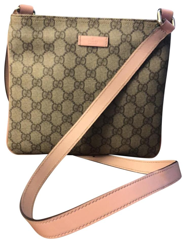 exquisite design Sales promotion release info on Gucci Crossbody Monogram Tan/ Pink Coated Canvas Messenger Bag 53% off  retail