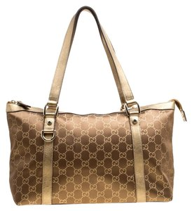Gucci Leather Tote in Brown/Gold