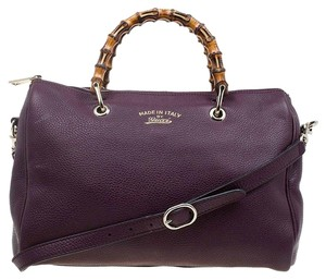 Gucci Leather Bamboo Satchel in Burgundy