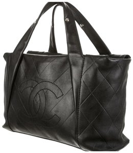 cc912540cd9 Chanel Cc Chevron Quilted All Day Long Satchel Black Calfskin Leather Tote
